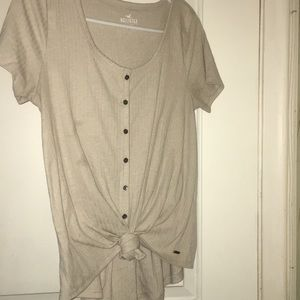 hollister tie front button down easy tee